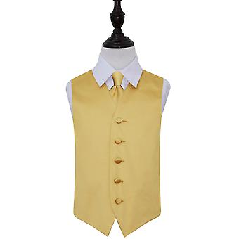 Pianura di oro sposa in panciotto e cravatta fissata per ragazzi