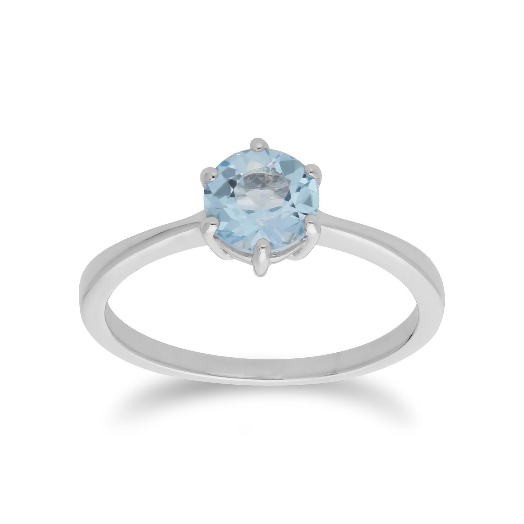 Gemondo Sterling Silver Blue Topaz November Round Ring