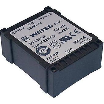 Weiss Elektrotechnik 83/235 PCB mount transformer 1 x 230 V 2 x 12 V AC 6 VA 250 mA