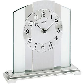 Table clock of brushed metal base silver mineral glass aluminum chrome