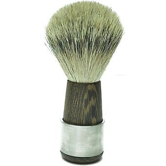 Gold Badger shaving brush with Badger silver tip Wenge wood combined with stainless steel