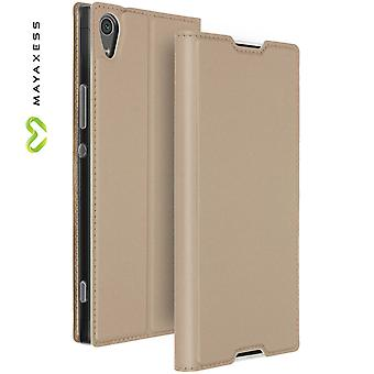 Mayaxess Skin Series Flip case, standing case for Sony Xperia XA1 Ultra - Gold