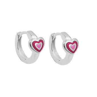 Creole12x2mm folding hinge heart two-tone pink painted, Silver 925