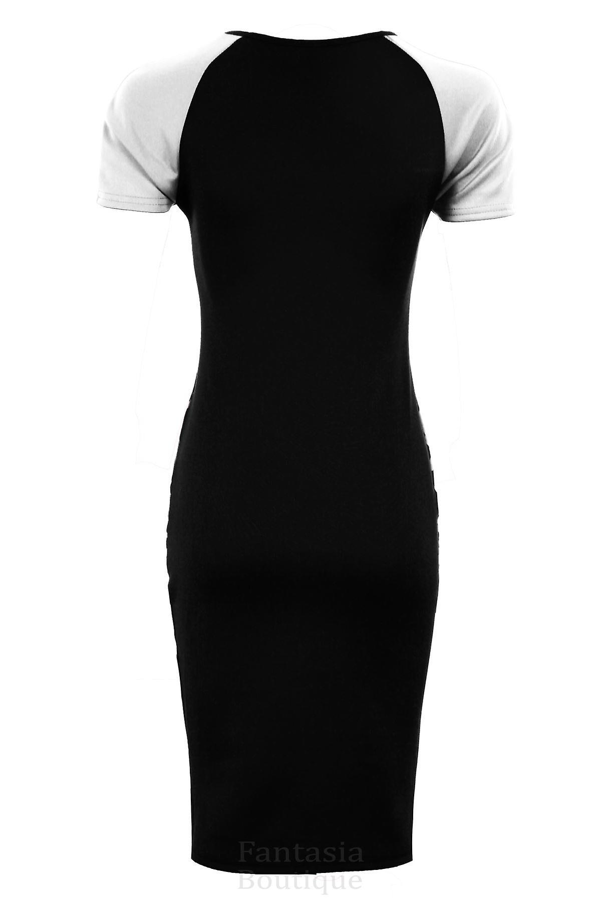 Ladies Contrast Panel Leopard Side Wine Ivory Black Women's Bodycon Dress