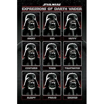 Expresiones de poster de Star Wars de Darth Vader 91.5 x 61 cm
