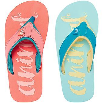 Animal Girls Swish Logo Beach Summer Holiday Slip On Thongs Sandals Flip Flops