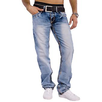 Men's 5-pocket jeans Next Generation thick seams bleached stretch Regular Fit