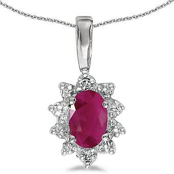 LXR 10k Rubino Ovale oro bianco e pendente di diamante 0.36 ct