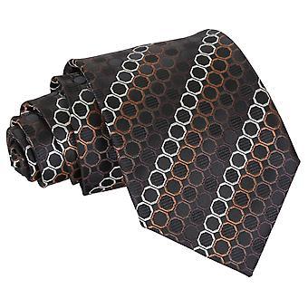 Sort, brun & sølv Honeycomb Polka Dot klassisk slips