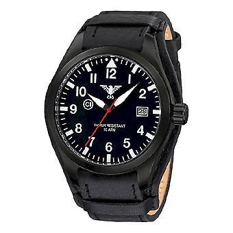KHS Uhren Herrenuhr Airleader Black Steel KHS.AIRBS.R