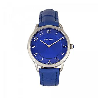 Bertha Abby Swiss Leather-Band Watch - Silver/Blue