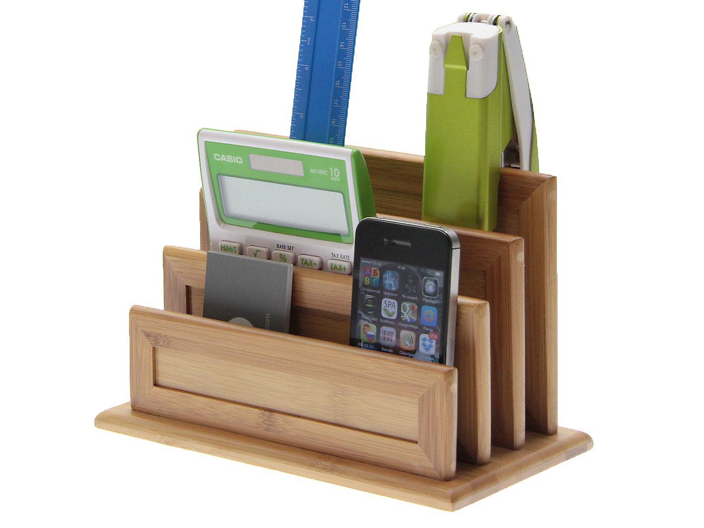 Woodquail Bamboo 3-Slot Letter Holder, Paper Sorter Rack