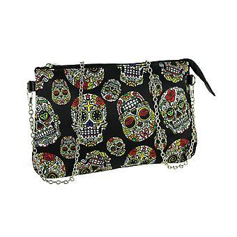Black Vinyl and Canvas Colorful Sugar Skull Chain Strap Handbag