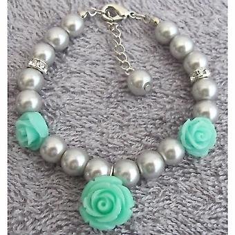 Mint Flower Charm Gray Pearl Rhinestone Flower Girl Charm Bracelet