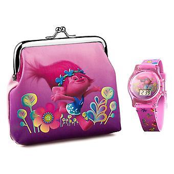 子供'sドリームワークストロール液晶時計と財布ギフトセット