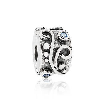 Pandora Swirl argento & blu CZ clip 790380CZB