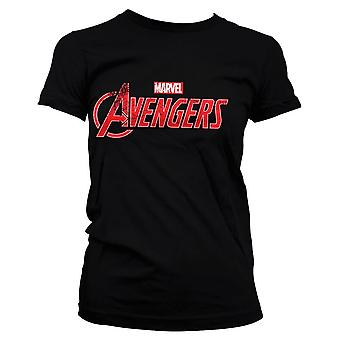 Women's Marvel Avengers Distressed Logo Black Fitted T-Shirt