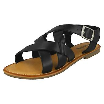 Ladies Leather Collection Buckle Slingback Sandals F00229