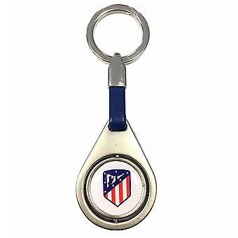 Atletico Madrid FC Spinner Crest Keyring