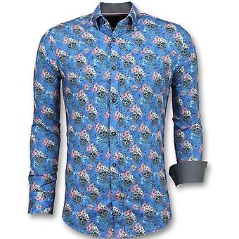 E Shirts - Flowers - Blue