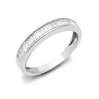 Jewelco London Solid 18ct White Gold Channel Set Baguette G VS 0.75ct Diamond Dainty Band Eternity Ring 4.5mm