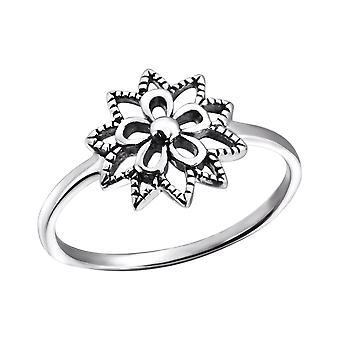Цветок - 925 стерлингового серебра Обычная кольцо - W24601x
