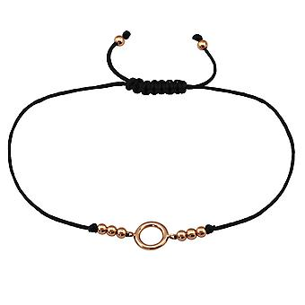 Circle - 925 Sterling Silver + Nylon Cord Corded Bracelets - W33148X