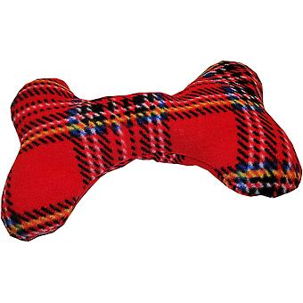 Fleecy Dog Bone Squeaky Toy Cushions Tartan Red by Dogcrafts