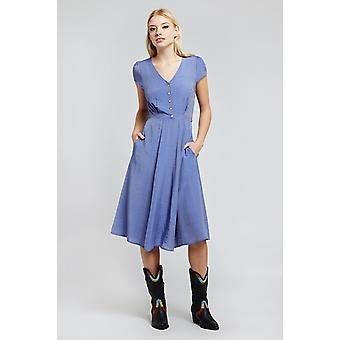 Louche Cathleen Midi Solid Tea Dress Cornflower