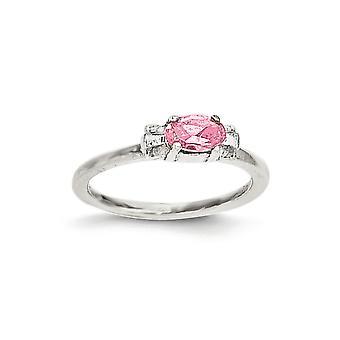 925 Sterling Silver Pink CZ Cubic Zirconia Simuleret Diamond Candy Kids Ring - Ring Størrelse: 3 til 4