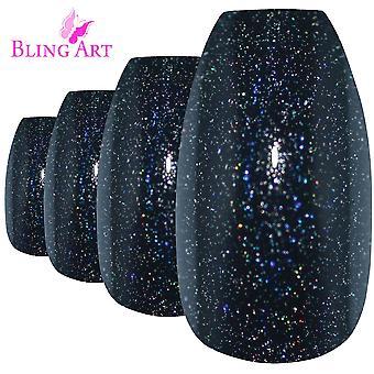 Valse nagels door bling kunst zwart gel ballerina kist 24 nep lang acryl tips