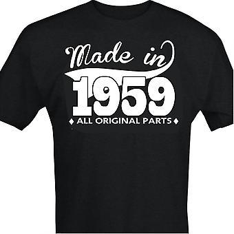 Camiseta preta com design feito em 1959-Todas as peças originais