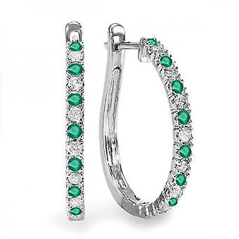 Dazzlingrock Collection 14K Round Emerald And White Diamond Ladies Hoop Earrings, White Gold
