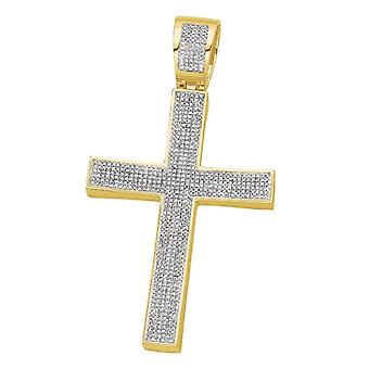 Dazzlingrock Collection 1.00 Carat (ctw) Yellow Plated White Diamond Mens Hip Hop Religious Cross Pendant, Sterling Silver