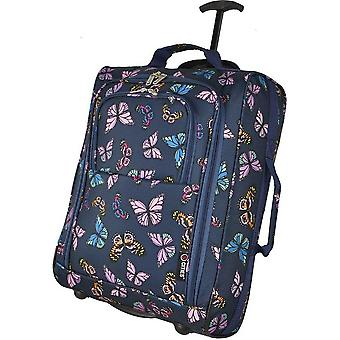 Cities Butterflies Travel bag Trolley Hand luggage Butterfly Suitcase Bag Navy Dark blue