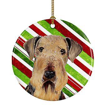 Bastón de caramelo de Airedale vacaciones Navidad adorno cerámica SC9333