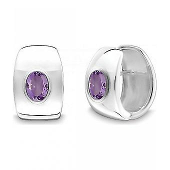 QUINN - Hoop earrings (pair) - women - silver 925 - gemstone - amethyst - 36864933