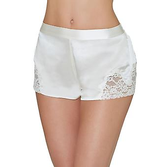 Aubade VI61 Frauen's Crepuscule Satine Nacre Off White Lace Silk Pyjama Pyjama Short