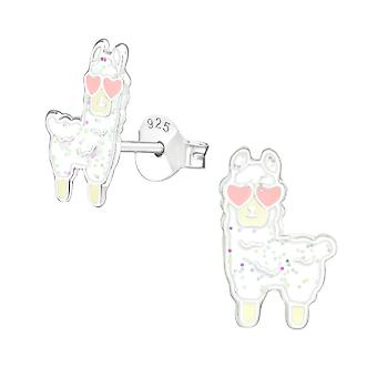 Alpaca - 925 Sterling Silver Colourful Ear Studs - W39142X