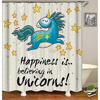 Unicorn And Stars Shower Curtain