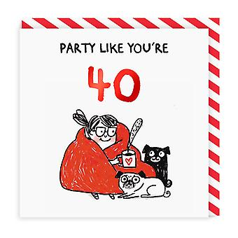 Ohh Deer Party Like Youre 40 Square Birthday Card