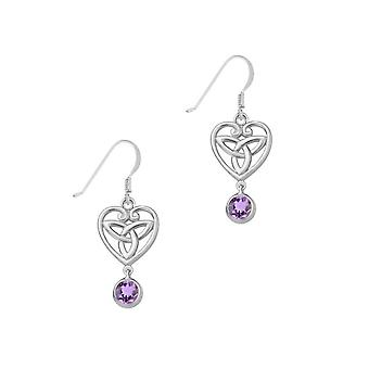 Celtic Holy Trinity Knot Love Heart Shaped Drop Style Pair Of Earrings - A Amethyst Stone