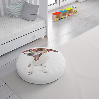 Meesoz Floor Cushion - Dog With Red Glasses On