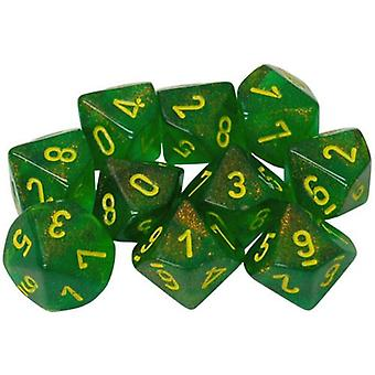 Chessex d10 Dice Set Borealis Maple Green/Yellow