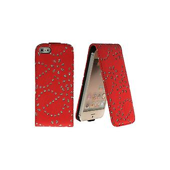 Bling-bling Strass Red Vertical Opening Cover For IPhone 5