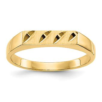 14k Yellow Gold Solid Polished and satin for boys or girls Sparkle Cut Ring Size 3.75 - 1.4 Grams