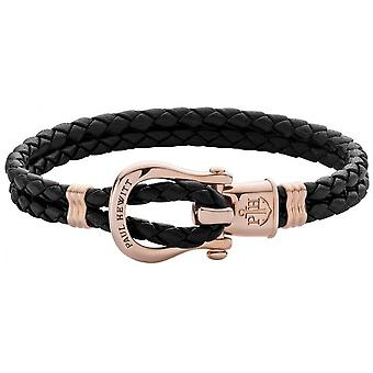 Bracelet Paul Hewitt PH-FSH-L-R-B - Acier IP Rose PHINITY SHACKLE Cuir Noir Femme