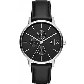 Armani Exchange AX2717 Reloj - Pulsera de cuero de acero gris negro Hombres
