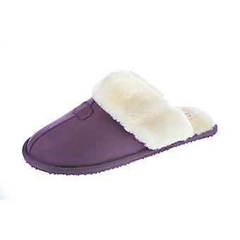 Coolers Womens Faux Fur Collar Lined Microsuede Mule Slipper