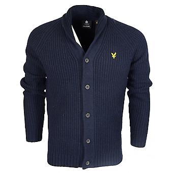 Lyle & Scott Shawl Neck Fine Knit Wool/nylon Navy Cardigan